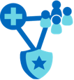 Group of people, medical cross, and security shield connected by a line.
